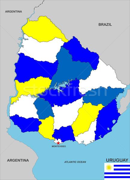 Uruguay harita büyük boyut ülke siyasi Stok fotoğraf © tony4urban