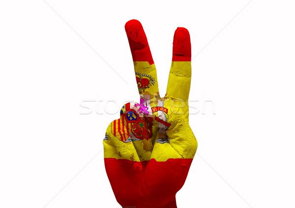 Kéz készít felirat Spanyolország vidék zászló Stock fotó © tony4urban