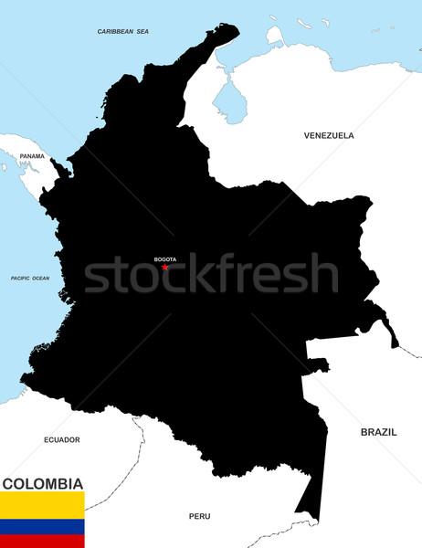 Colombia térkép nagy méret politikai illusztráció Stock fotó © tony4urban