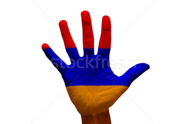 手のひら フラグ アルメニア 男 手 描いた ストックフォト © tony4urban