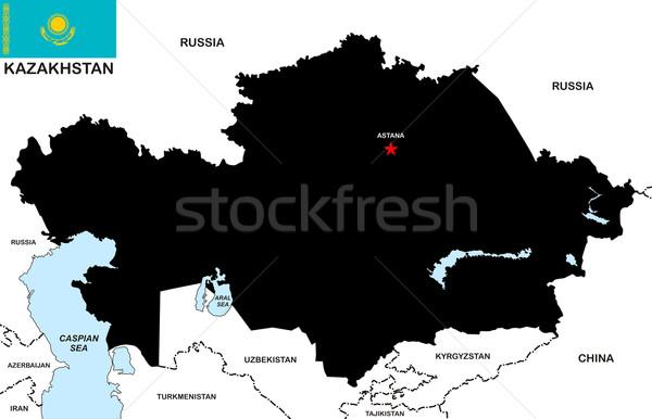Kazajstán mapa grande tamaño negro bandera Foto stock © tony4urban