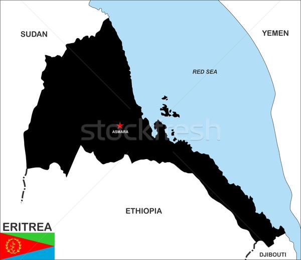 Eritrea mapa grande tamaño país negro Foto stock © tony4urban