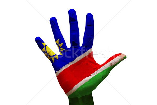 Palm флаг Намибия человека стороны окрашенный Сток-фото © tony4urban