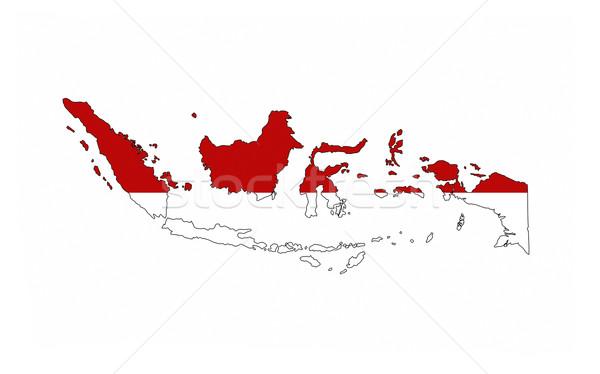 Индонезия флаг карта стране форма Сток-фото © tony4urban