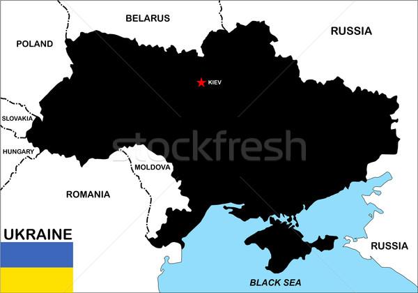 Украина карта большой размер политический флаг Сток-фото © tony4urban