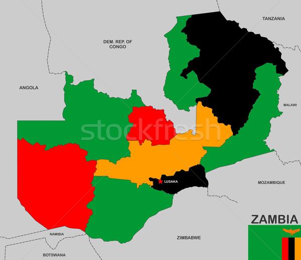 Zambiya harita büyük boyut siyasi bayrak Stok fotoğraf © tony4urban