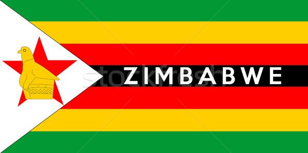 Zászló Zimbabwe nagy méret illusztráció vidék Stock fotó © tony4urban