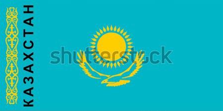 Bandeira Cazaquistão grande tamanho ilustração país Foto stock © tony4urban