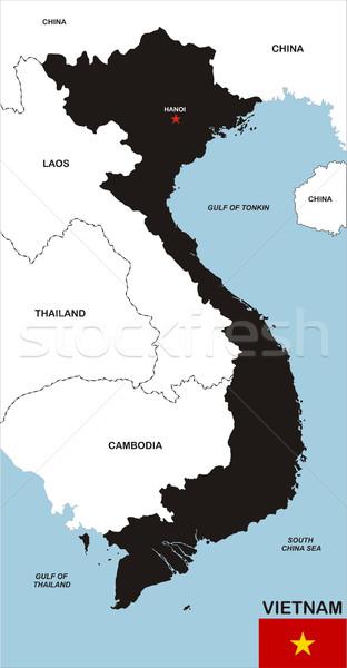 Viêt-Nam carte grand taille noir pavillon Photo stock © tony4urban