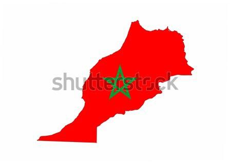 Fas bayrak harita ülke biçim Stok fotoğraf © tony4urban