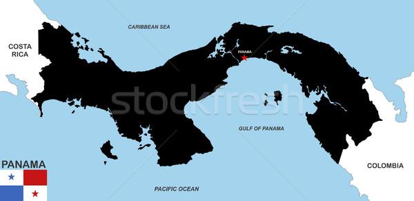 Панама карта большой размер черный флаг Сток-фото © tony4urban