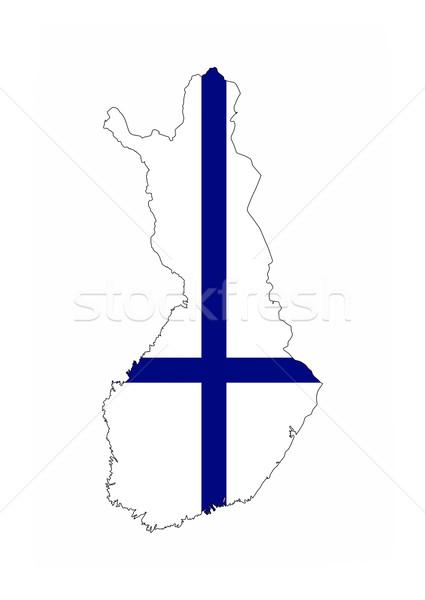 Finlândia bandeira mapa país forma Foto stock © tony4urban