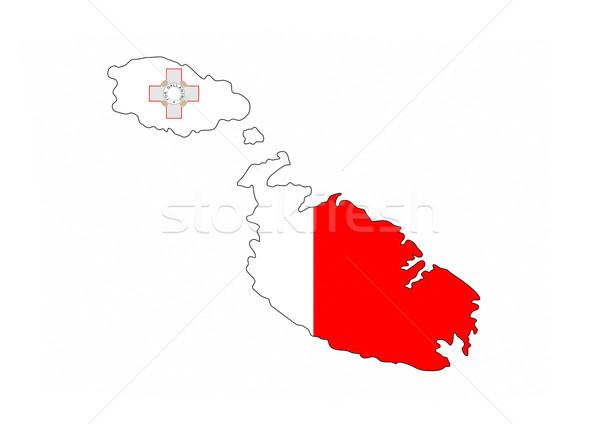 Malta vlag kaart land vorm Stockfoto © tony4urban