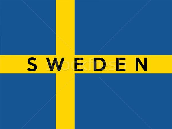 Banderą Szwecja duży rozmiar ilustracja kraju Zdjęcia stock © tony4urban