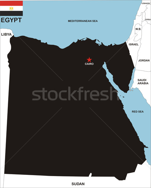 Egypte kaart politiek land vlag illustratie Stockfoto © tony4urban