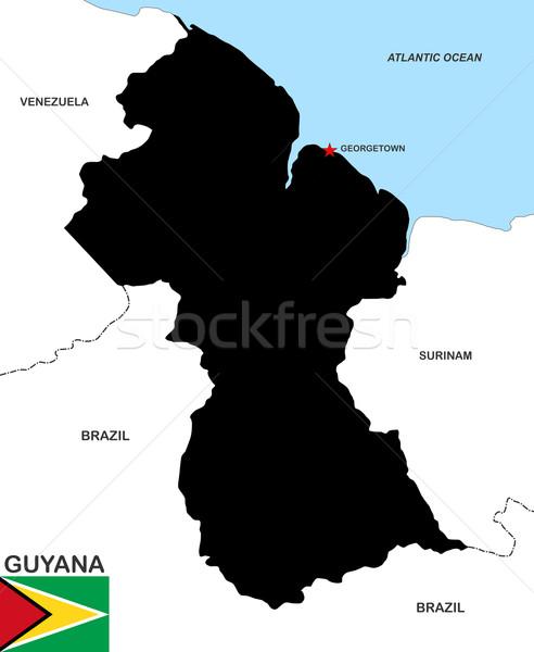 Guyana térkép nagy méret fekete zászló Stock fotó © tony4urban