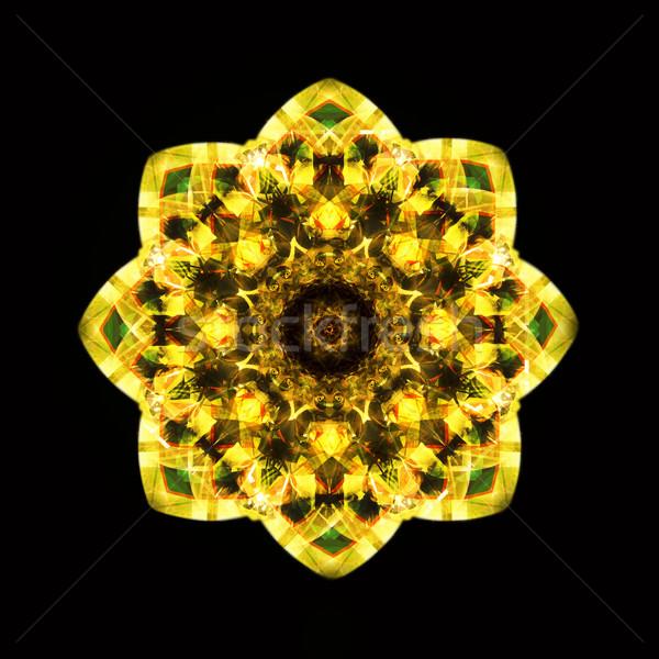калейдоскоп желтый компьютер генерируется бесшовный цветочным узором Сток-фото © tony4urban