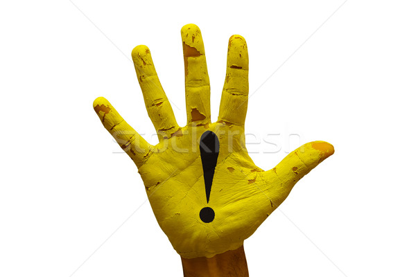 Dłoni ostrożność człowiek strony malowany niebezpieczeństwo Zdjęcia stock © tony4urban