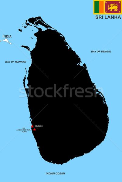Sri Lanka térkép nagy méret fekete illusztráció Stock fotó © tony4urban