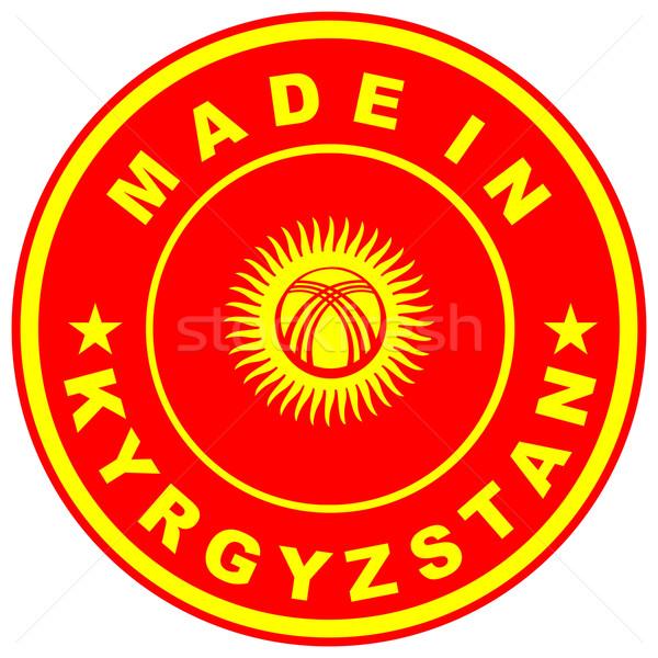 Kırgızistan büyük boyut ülke etiket imzalamak Stok fotoğraf © tony4urban