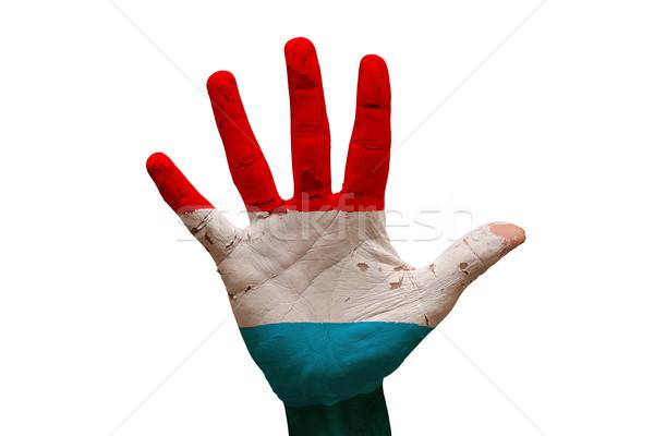 Dłoni banderą Luksemburg człowiek strony pięść Zdjęcia stock © tony4urban