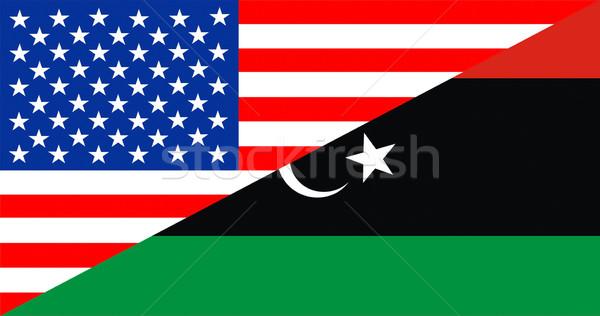 USA Libia banderą Stany Zjednoczone Ameryki Zdjęcia stock © tony4urban
