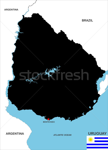 Uruguai mapa grande tamanho país preto Foto stock © tony4urban