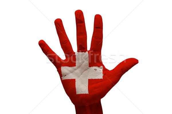 Palmiye bayrak İsviçre adam el yumruk Stok fotoğraf © tony4urban