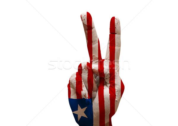 Kéz készít felirat grunge Libéria zászló Stock fotó © tony4urban