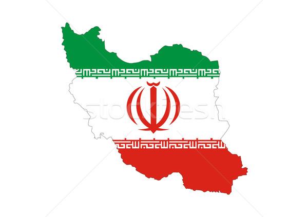 Irán zászló térkép vidék forma szimbólum Stock fotó © tony4urban