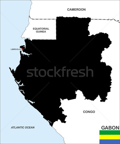 ガボン 地図 ビッグ サイズ 国 黒 ストックフォト © tony4urban