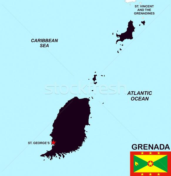 Grenada térkép nagy méret illusztráció vidék Stock fotó © tony4urban