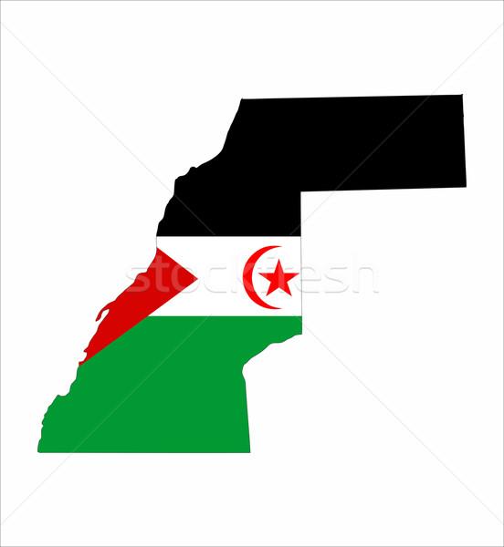 Batı sahara bayrak harita ülke biçim Stok fotoğraf © tony4urban