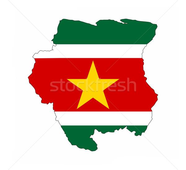 Суринам флаг карта стране форма Сток-фото © tony4urban