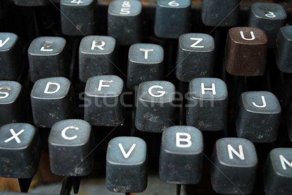 Vintage máquina de escribir detalle negro claves Foto stock © tony4urban