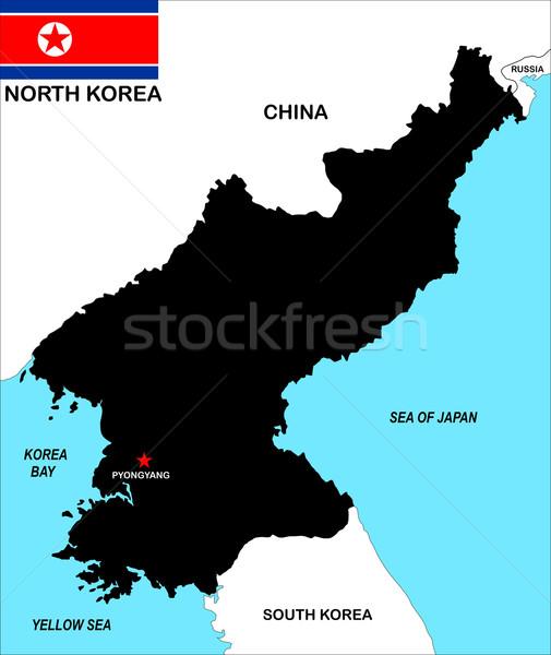 Norte mapa grande tamanho político ilustração Foto stock © tony4urban
