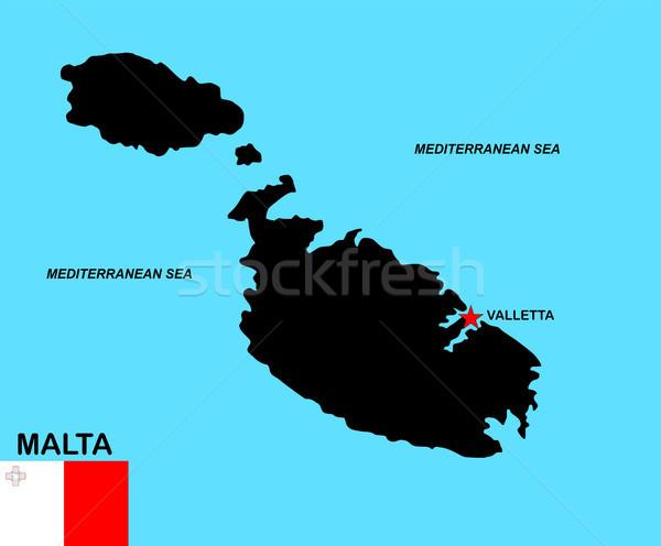 Malta kaart groot maat zwarte vlag Stockfoto © tony4urban