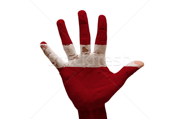 Palm vlag Letland man hand geschilderd Stockfoto © tony4urban