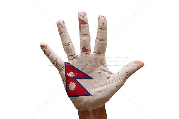 Palma bandera Nepal hombre mano pintado Foto stock © tony4urban
