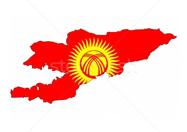 Kırgızistan bayrak harita ülke biçim Stok fotoğraf © tony4urban