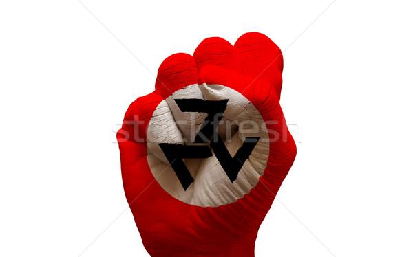 Banderą pięść człowiek strony malowany kraju Zdjęcia stock © tony4urban