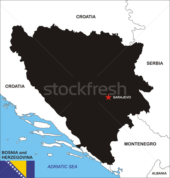 Bosnië-Herzegovina kaart politiek land vlag illustratie Stockfoto © tony4urban
