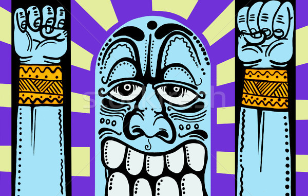 Street art характер синий счастливым граффити стиль Сток-фото © tony4urban