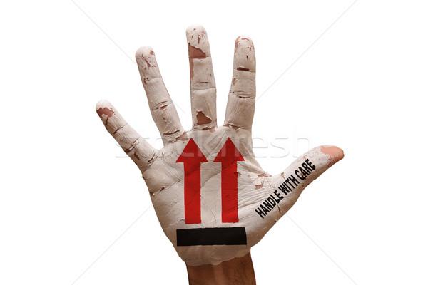 Dłoni ostrożność człowiek strony malowany uchwyt Zdjęcia stock © tony4urban