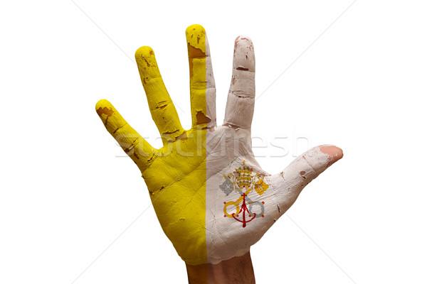 Palm флаг Ватикан человека стороны окрашенный Сток-фото © tony4urban