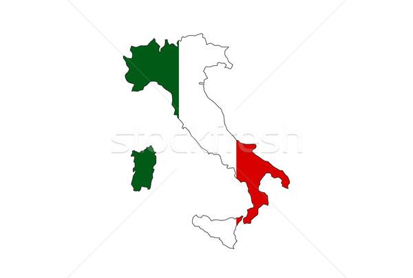 Италия флаг карта стране форма иллюстрация Сток-фото © tony4urban