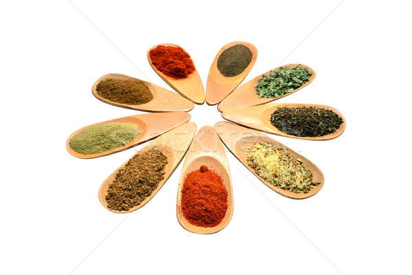 Houten Spice lepels voedsel witte Stockfoto © tony4urban