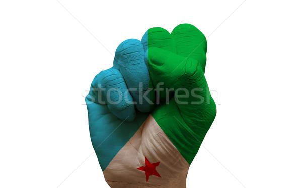 Bandiera pugno uomo mano verniciato paese Foto d'archivio © tony4urban
