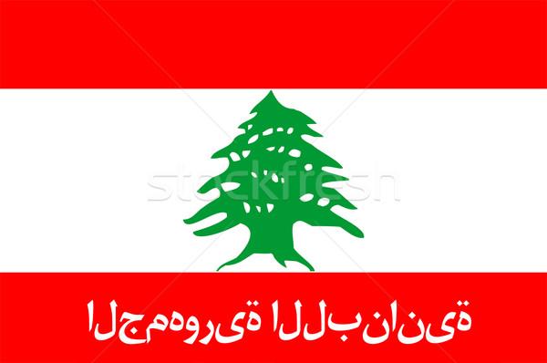 Zászló Libanon nagy méret illusztráció vidék Stock fotó © tony4urban