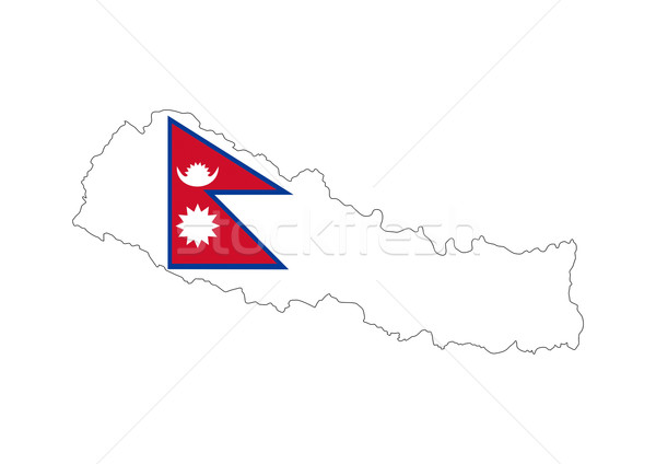 Nepál zászló térkép vidék forma Stock fotó © tony4urban